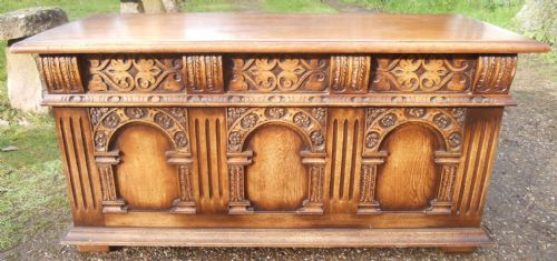 Large Tudor Style Oak Blanket Chest